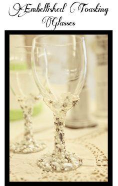 DIY Pearl and Diamond Wedding Wine Glasses...cool but I don't know if I'd want to make them or not.