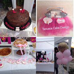 Festa Chá de bebés  cesta com oferta # bolo brigadeiro # bolachas para as pipocas e ao tema # montagem feita por amigas # sejam bem vindas pipocas Mariana & Leonor