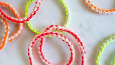 Cashmere + Neon Friendship Bracelets | The Purl Bee; a project for older kids