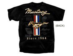 Ford Mustang T-Shirt Golden Tribar Since 1964 in Black FMGTR-B