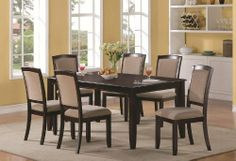 7pc Causal Dining Table and Chairs Set with Leaf in Cappuccino Finish by Coaster Home Furnishings, http://www.amazon.com/dp/B007AU9G6M/ref=cm_sw_r_pi_dp_405Mrb1ZD7DEH