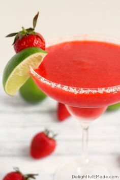 Blended with frozen strawberries, lime juice, and tequila, these frozen margaritas are easy to make, wonderfully refreshing and classic cocktail! Cheers!