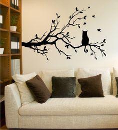 Ast mit Katze, Wandtattoo Ast, Tiere, Katze, Baum, Wandsticker Cat
