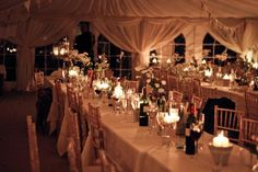 Gorgeous long tables and wedding marquee
