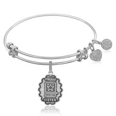 Expandable Bangle in White Tone Brass with U.S. Army Proud Sister Symbol