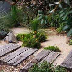 Brilliant garden path and walkways design ideas 106 bush garden, dry garden, grav Bush Garden, Dry Garden, Garden Paths, Australian Garden Design, Australian Native Garden, Sleepers In Garden, Design Patio, Path Design, Coastal Gardens