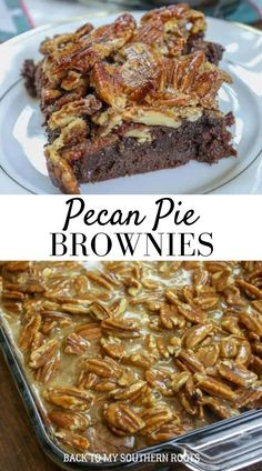 Pecan Pie Brownies are easy to make and a wonderful dessert any time of year, but especially around the holidays. The fudgy brownies are a decadent and rich treat made with candied pecans and plenty of chocolate. #brownies #pecanpie Pie Brownies, Homemade Brownies, Chocolate Brownies, Pecan Recipes, Brownie Recipes, Cooking Recipes, Pecan Pralines, Candied Pecans, Food Goals