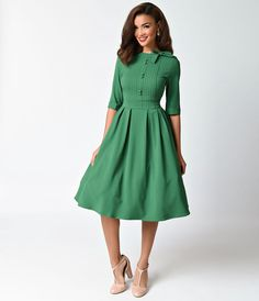 1940s Style Dresses and Clothing Hell Bunny 1940s Style Green Crepe Half Sleeve Madison Swing Dress  Size XL $88.00 AT vintagedancer.com