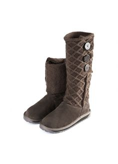 Knitted 14-inch Fold Over Snow Boots Coffee