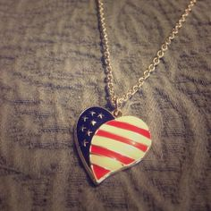 American flag heart necklace Beautiful patriotic necklace I'm going to be ordering a new chain for it but the one it came with is super small and wont even work as a choker lol. Would make a great child's necklace as is Jewelry Necklaces
