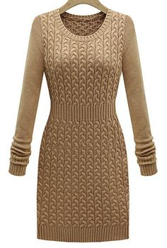 Khaki Long Sleeve Cable Knit Sweater Dress - Sheinside.com