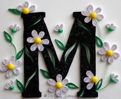White Daisies Quilled Letter M Monogram