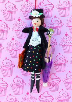 Mary Poppins Clothespin Doll by Hoopdeeloo on Etsy