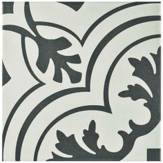 Merola Tile Twenties Vintage 7-3/4 in. x 7-3/4 in. Ceramic Floor and Wall Tile (11 sq. ft. / case), White And Charcoal/Low Sheen