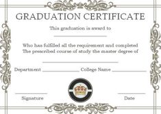 masters degree certificate templates