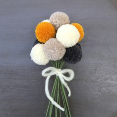 Pom Pom Flowers Fall Flower Bouquet PomPoms Yarn by FeandFran
