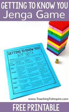 Getting To Know You Activity with Jenga – Teaching with Jennifer Findley Getting To Know You Activity with Jenga – Teaching with Jennifer Findley,Schule Schüler Lehrer Your students will love this getting to know. Get To Know You Activities, High School Activities, First Day Of School Activities, Counseling Activities, 1st Day Of School, Beginning Of The School Year, School Games, Therapy Activities, Back To School Ideas For Teachers