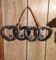 Gorgeous Horseshoe Four Hearts Linked With Crosses Western Decor