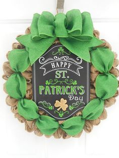 St. Patrick's day burlap wreath St. Patty's day burlap