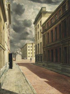 Carel Willink (Dutch, 1900-1983), Straat met standbeeld [Street with statue], 1934. Oil on canvas, 100 x 75 cm.