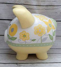 Alcancía personalizada artesanal hucha de cerámica pintado a
