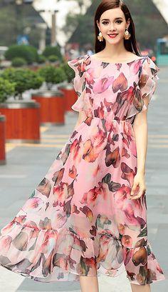 7e87b5eb321 Chic Peteals Sleeve Floral Print A-Line Dress