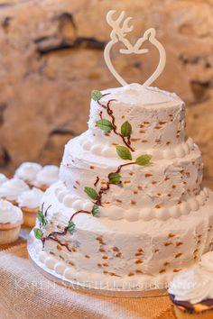 Deer and birch tree-themed wedding cake
