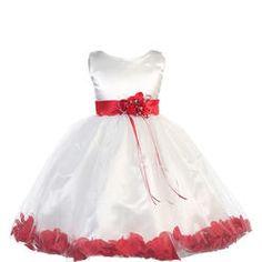 B-One Big Girls White Red Petals Satin Sleeveless Flower Girl Dress 8-12