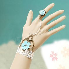 Gothic Bracelet Ring, Lace, with Satin Ribbon & Faux Suede Cord & Zinc Alloy, with 7cm extender chain, antique bronze color plated, gothic style, 50mm