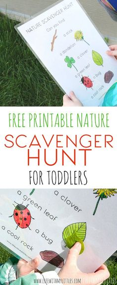 Love this simple, free, printable nature scavenger hunt for toddlers! It's easy and perfect for little learners who want to explore. The perfect outdoor activity for toddlers!
