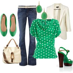 """st. patrick's day"" by blairmoore on Polyvore - I really need a white blazer!"