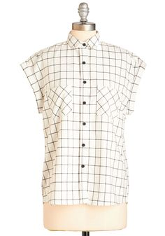While the Going is Grid Top - White, Black, Checkered / Gingham, Casual, Vintage Inspired, 60s, Short Sleeves, Spring, Collared, Black/White, Short Sleeve, Buttons, Pockets, Work, Mid-length