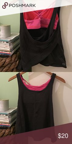 Open back workout top Built in pink bra. Brand is American eagle, lululemon for exposure. Hardly worn. lululemon athletica Tops Tank Tops