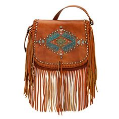 American West Pueblo Moon Collection Fringe Crossbody Flap Bag. Crossbody flap bag with magnetic closure under the flap. Smooth distressed charcoal brown vegetable tanned genuine leather is hand-stained and accented with tribal-inspired cut-outs in various colors of smooth hand-rubbed leather (blue, distressed crimson, harvest tan, and turquoise). Decorated with silver spots, a long flowing tassel, and whipstitching along the flap. Long, soft fringe decorates the sides and bottom of the…