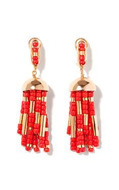 Shop Positano Tassel Earring With Coral Resin by Aurélie Bidermann for Preorder on Moda Operandi