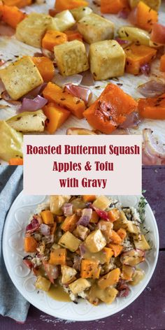 Feel all the fall vibes with this sheet pan dinner! This fall focused recipe features Roasted Butternut Squash, Apples, and Tofu topped with an apple cider gravy. Tofu Dinner Recipes, Tofu Recipes, Easy Healthy Recipes, Fall Recipes, Vegetarian Recipes, Vegan Dinners, Healthy Food, Cooking Wild Rice, Roasted Butternut Squash