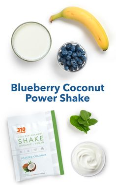 Provide your body with all the nutrients you'd obtain from a well-balanced meal in this Blueberry Coconut Power Shake! Protein Shake Recipes, Protein Shakes, Yummy Drinks, Healthy Drinks, Drink Recipes, Whole Food Recipes, Meal Replacement Shakes, Toasted Coconut, Calorie Counting