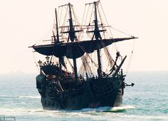 The impressive Black Pearl galleon which featured in all of the Pirates of the Caribbean movies