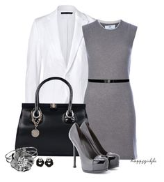 Black, White, & Gray by happygirljlc on Polyvore featuring polyvore fashion style Allude Ralph Lauren Blue Label Yves Saint Laurent Stuart Weitzman Tory Burch
