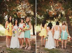 Yellow & aqua or light blue bridesmaids' dresses. I still like the lace & black idea, but these would go better with the colors I'd want for a wedding. As always, I'd want them short. Let your girls party, bride ladies.  #wedding #dress #bridesmaid #girlfriends #bridesmaids #yellow #sunshine #aqua #blue