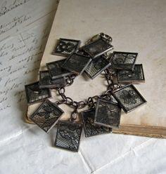 Mysterious Black Lace Glass Bracelet Jewelry by ThatOldBlueHouse2, $58.00