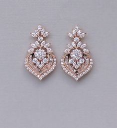 Rose Gold Crystal Bridal Earrings, Marquise CZ Statement Wedding Jewelry Rose Gold, Taylor RGC - Another! Gold Chandelier Earrings, Gold Bridal Earrings, Gold Wedding Jewelry, Gold Earrings Designs, Rose Gold Earrings, Wedding Earrings, Bridal Jewelry, Diamond Earrings, Gold Jewelry