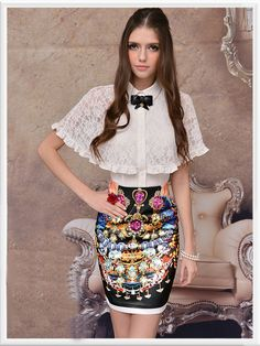 Black Satin Pattern Banded Lady Trendy Skirt € 51.69