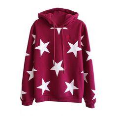Five-pointed Star Pattern Loose Fit Hoodie ($20) ❤ liked on Polyvore featuring tops, hoodies, purple hooded sweatshirt, loose fitting tops, loose long sleeve tops, long sleeve hoodies and long sleeve tops