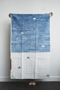 Indigo Hand Stitched Quilt Love.