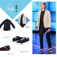 Ellen's Look of the Day: navy button down shirt, navy shoes and dark jeans with a beige blazer