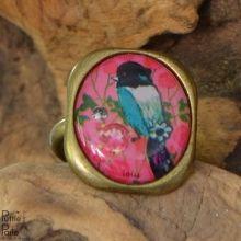 Vintage ring met blauwe vogel