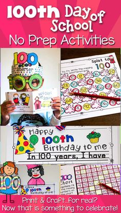 Celebrate the 100th day of school with these fun ideas! Ideas include glasses, crown or hat, bubble gum printable, count to 100 chart worksheets, mini-reader books that are leveled, 100 year old birthday writing craftivity, splat to one-hundred, and other math ideas for centers! This is no prep...even the crafts! The glasses and crown pair cute with any outfit or costume for the 100 days of school celebration! Includes differentiation, so this can be used for preschool (prek), kindergarten…