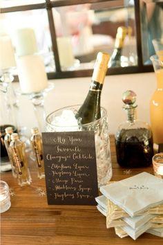 Wedding Champagne Bar...@Katie Schmeltzer Schmeltzer Schmeltzer Holda set this up at the salon? yes.