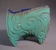 Green Storm Vase, carved sculptured vase